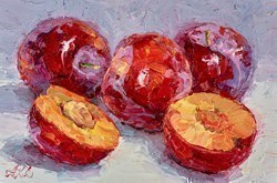 Red Plums V by Lana Okiro -  sized 9x6 inches. Available from Whitewall Galleries